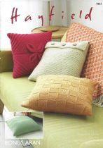Hayfield Bonus Aran - 7803  Cushion Covers Knitting Pattern